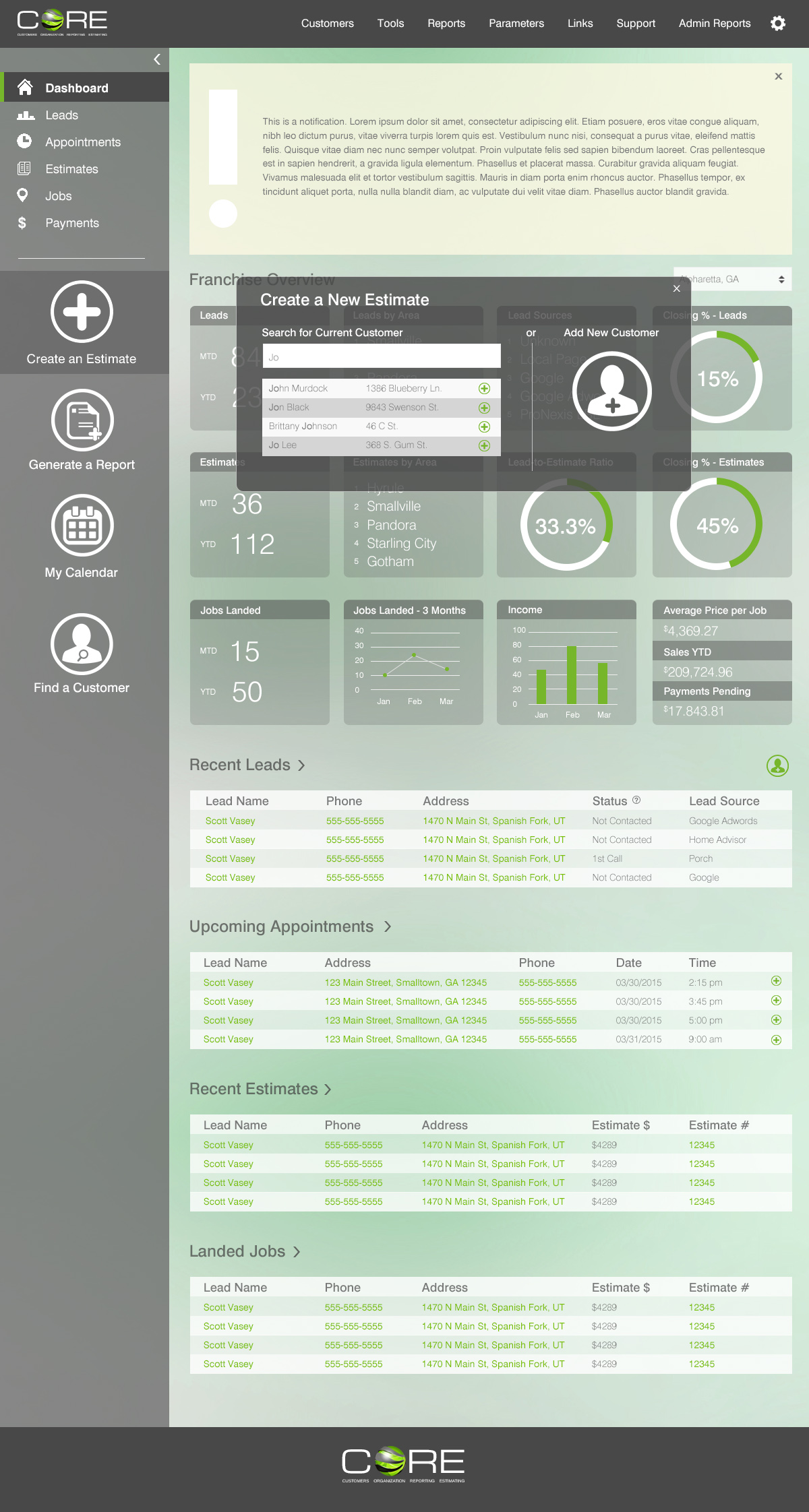 CORE 2.0 Dashboard with Popup