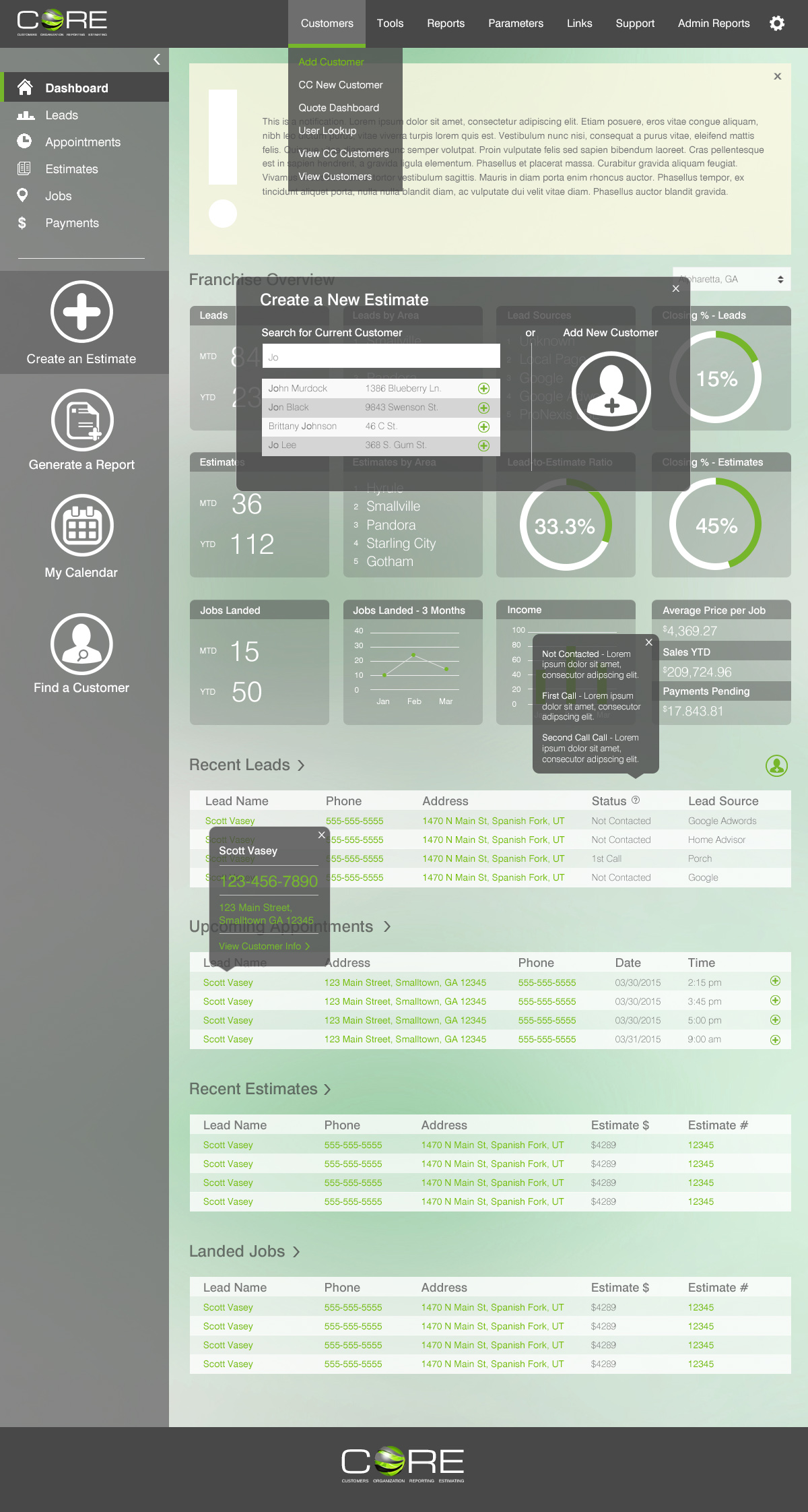 CORE 2.0 Dashboard with Popups